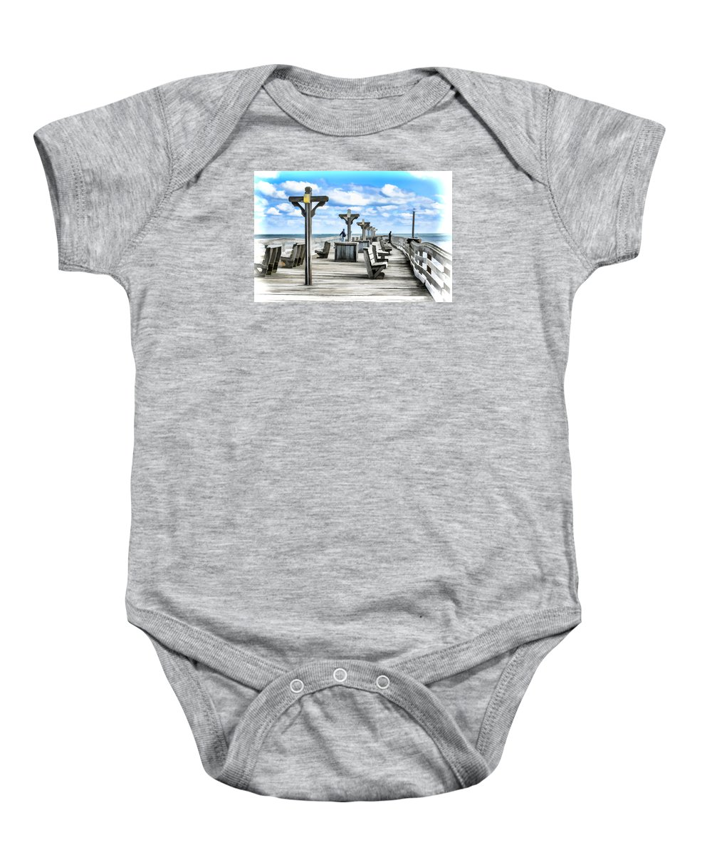 Fishing Pier Baby Onesie featuring the painting Fishing Pier 13 by Jeelan Clark