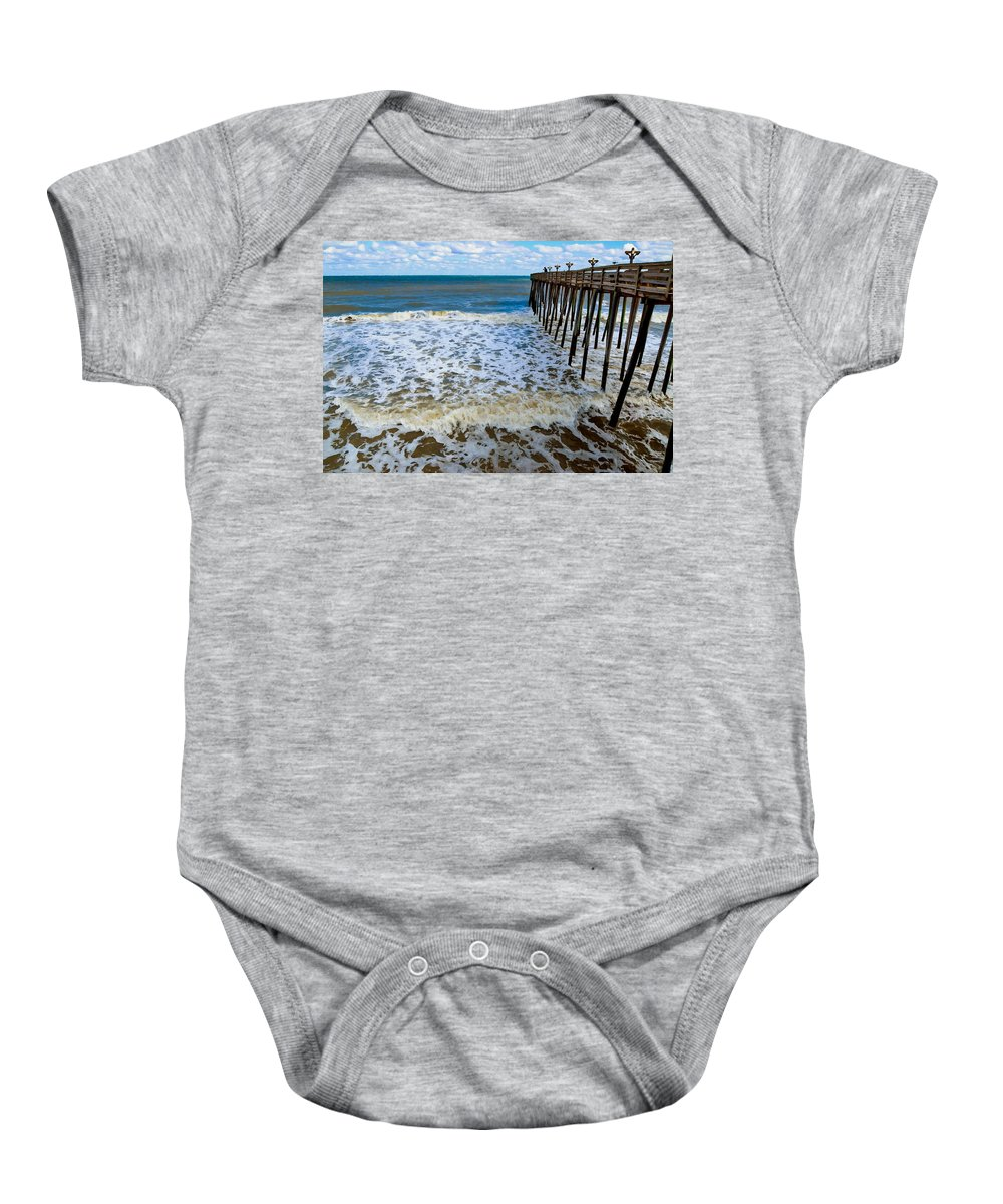 Fishing Pier Baby Onesie featuring the painting Fishing Pier 2 by Jeelan Clark