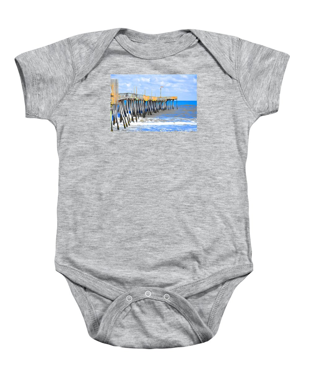 Fishing Pier Baby Onesie featuring the painting Fishing Pier 4 by Jeelan Clark