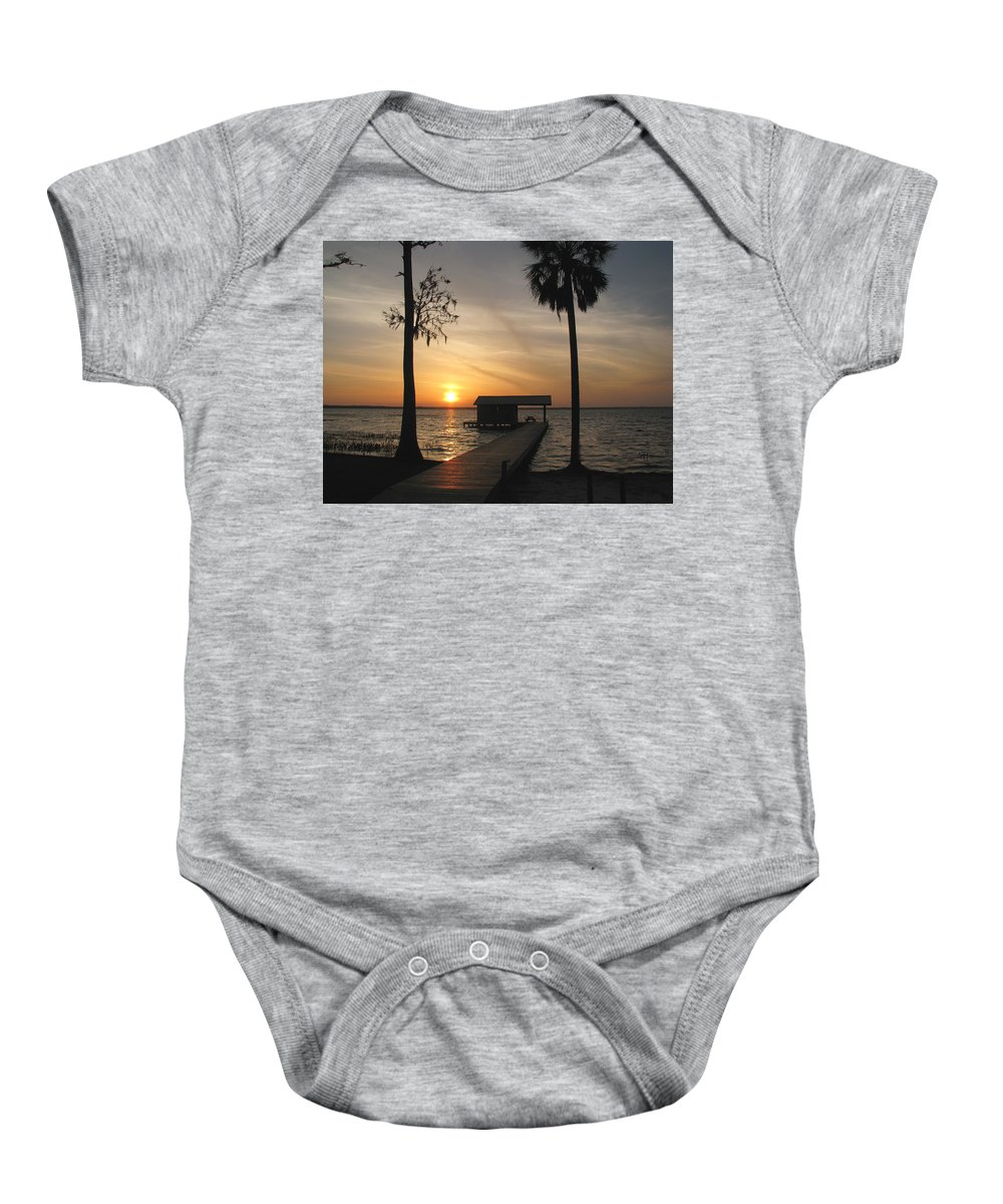 Landscape Baby Onesie featuring the photograph Fishing Pier At Dusk by Peg Urban