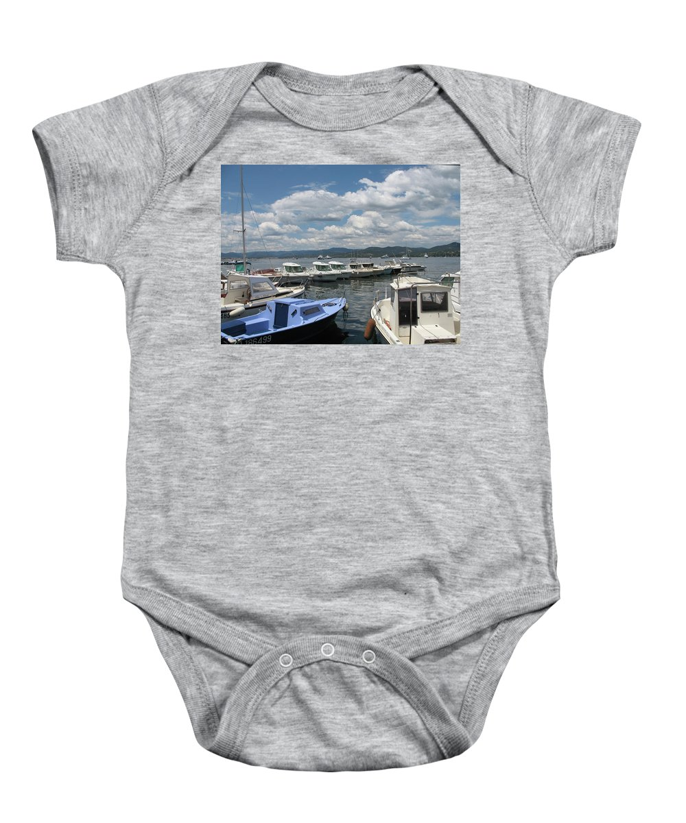 Fishingsboats Baby Onesie featuring the photograph Fishingboats by Christiane Schulze Art And Photography