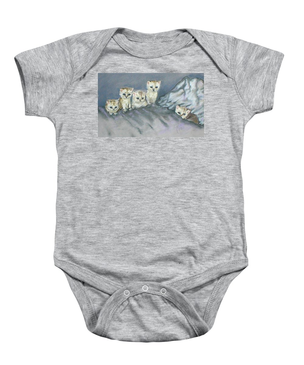 Cats Baby Onesie featuring the drawing Five Kitties by Cori Solomon