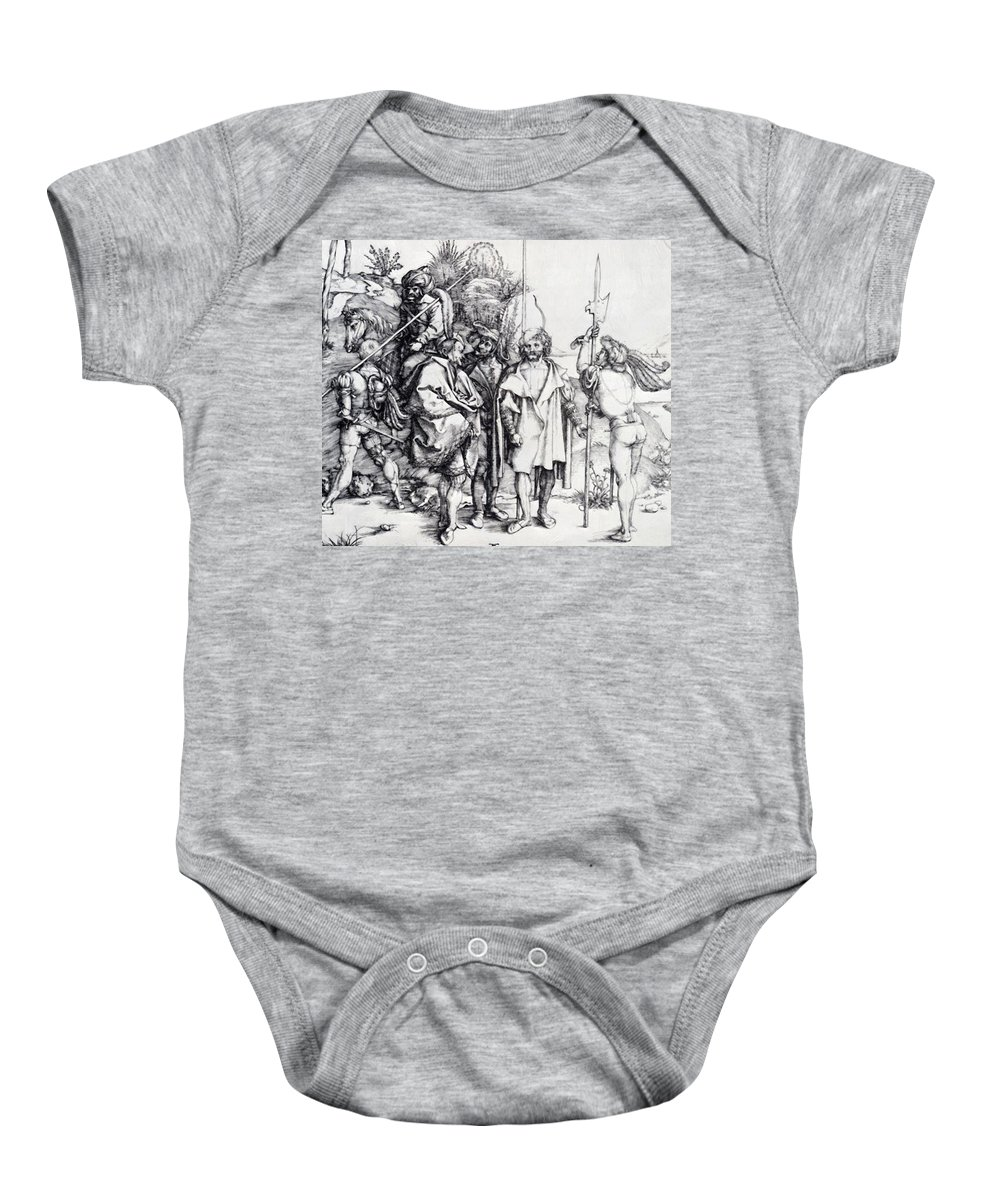 Five Baby Onesie featuring the painting Five Lansquenets And An Oriental On Horseback 1495 by Durer Albrecht