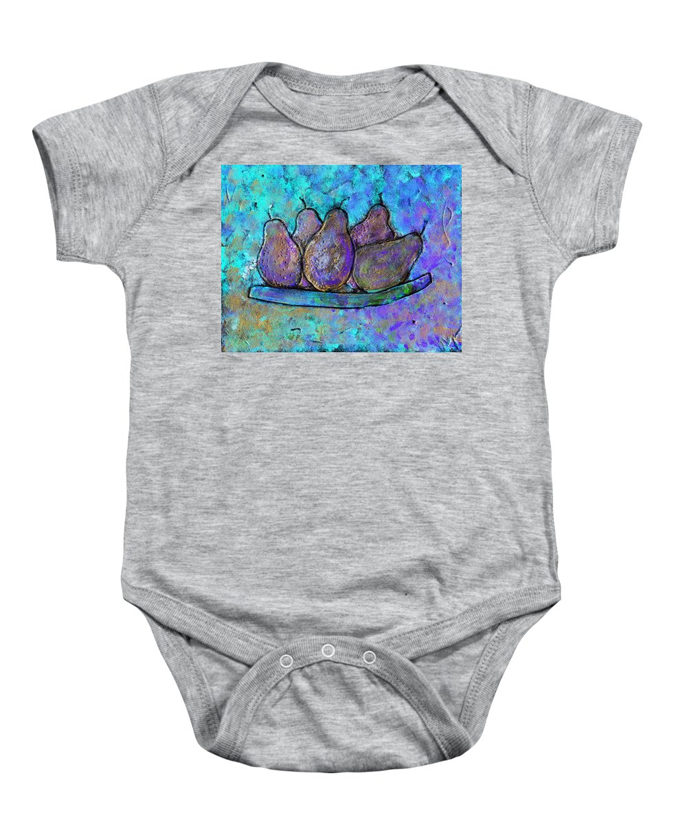 Fruit Baby Onesie featuring the painting Five Pears On A Platter by Wayne Potrafka