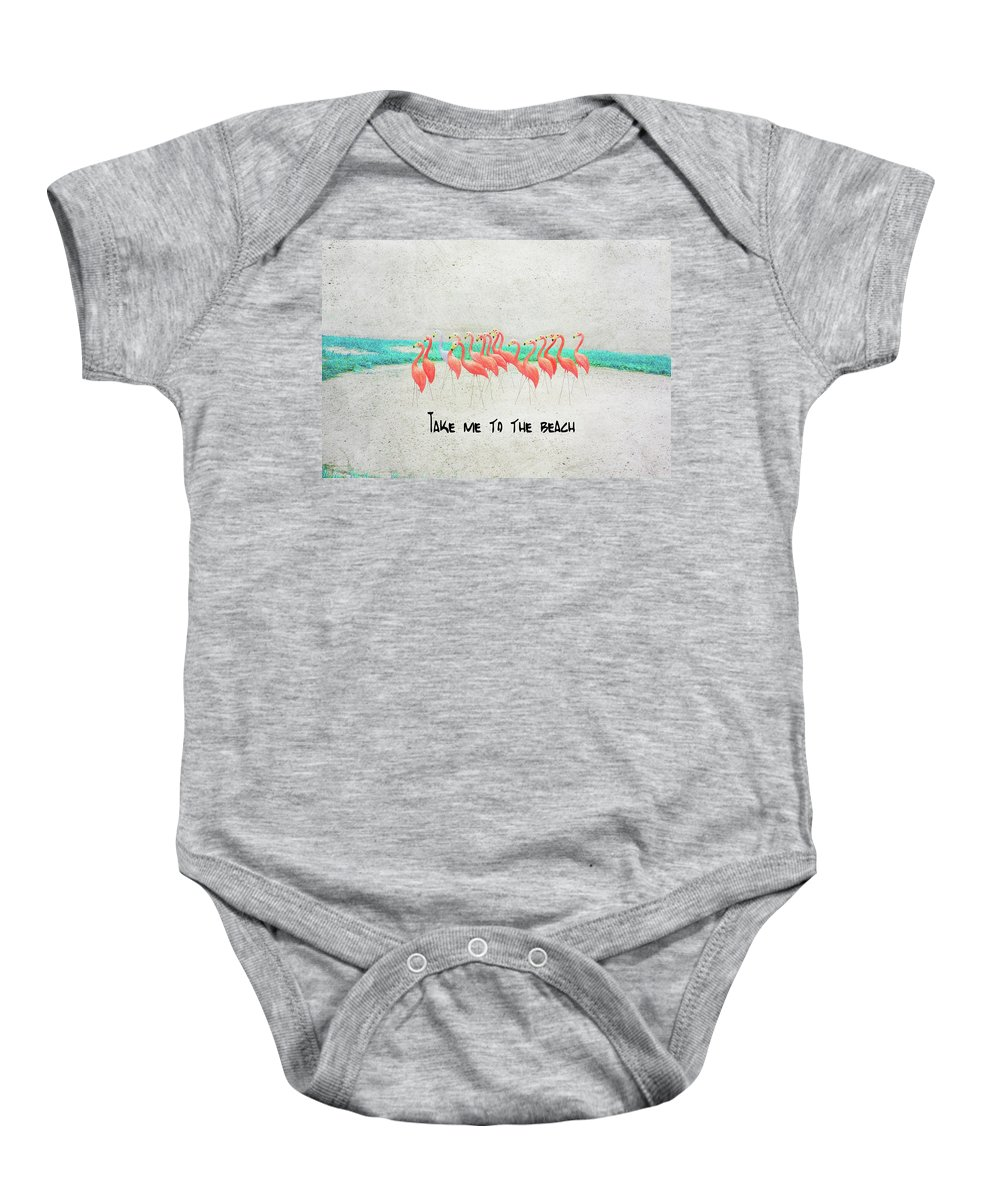 Baby Onesie featuring the photograph Flamingo Art II by Mary Bellew