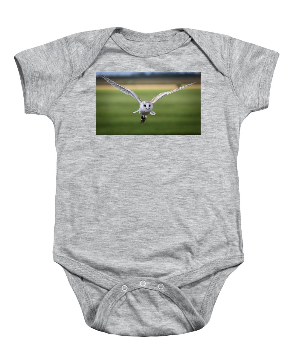 Owl Baby Onesie featuring the photograph Flight Of The Barn Owl by James Kenning