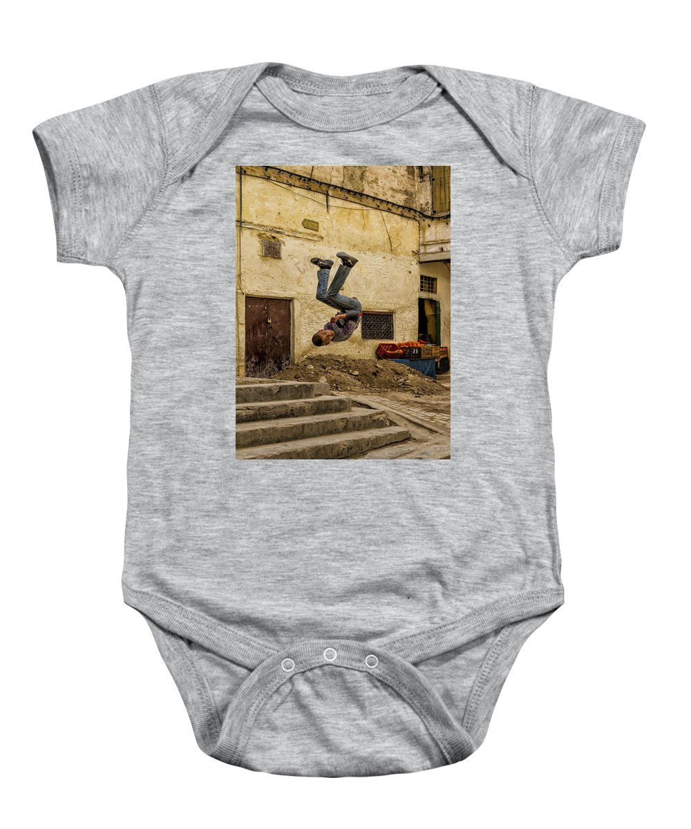 Somersault Baby Onesie featuring the photograph Flipped by Lindley Johnson