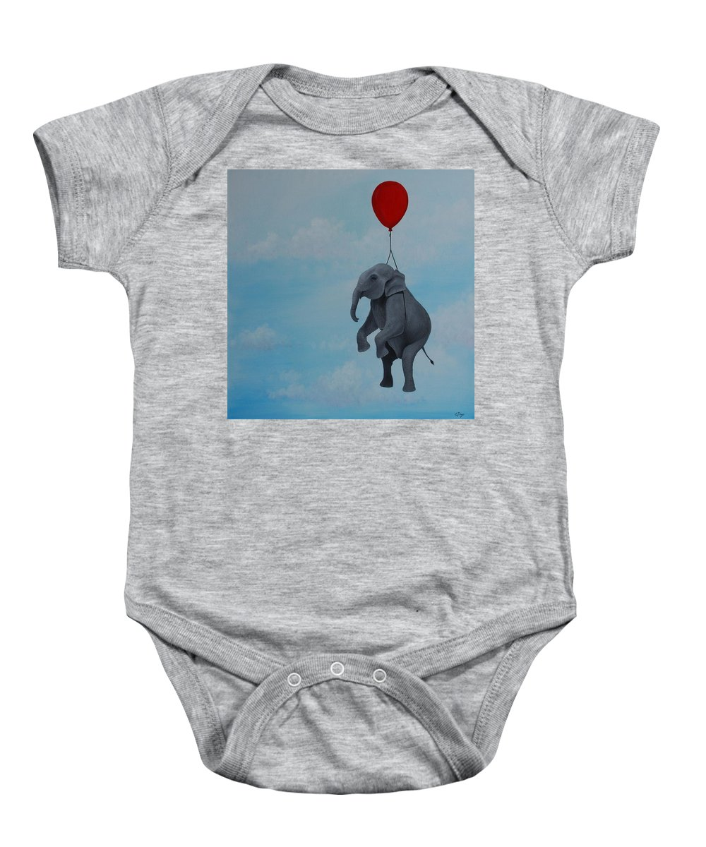 Elephant Baby Onesie featuring the painting Floating by Emily Page