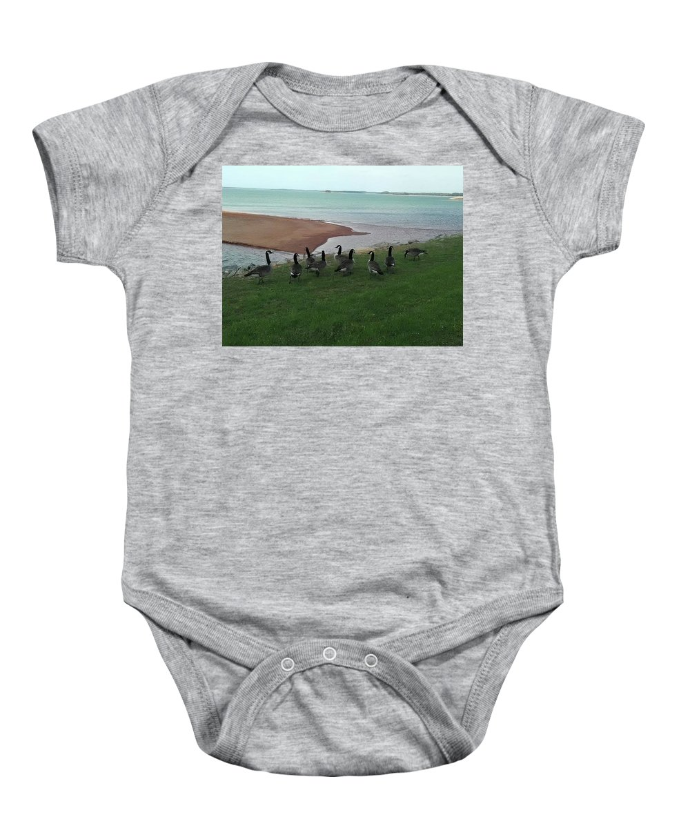 Geese Baby Onesie featuring the photograph Flock by Jimmy Hunt