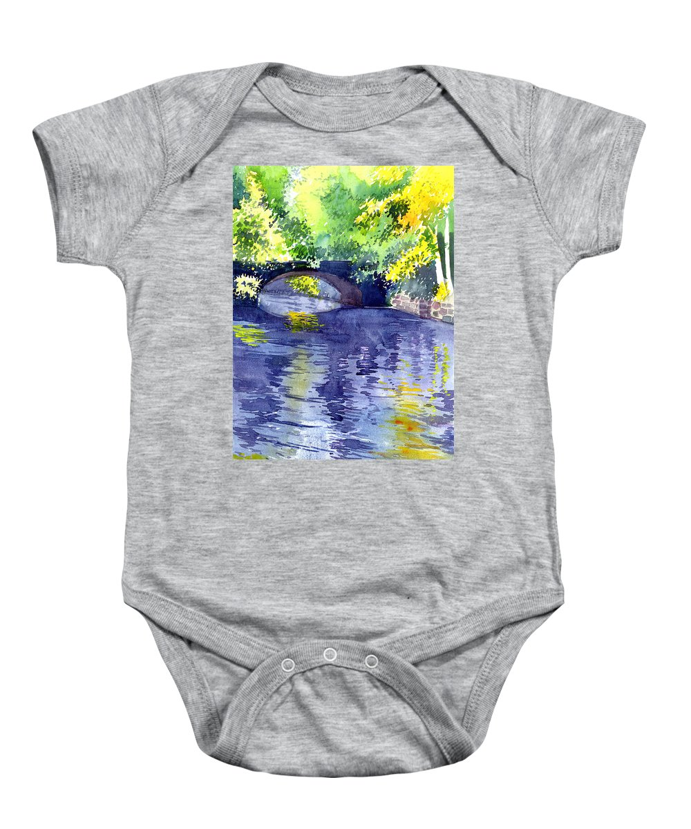 Nature Baby Onesie featuring the painting Floods by Anil Nene
