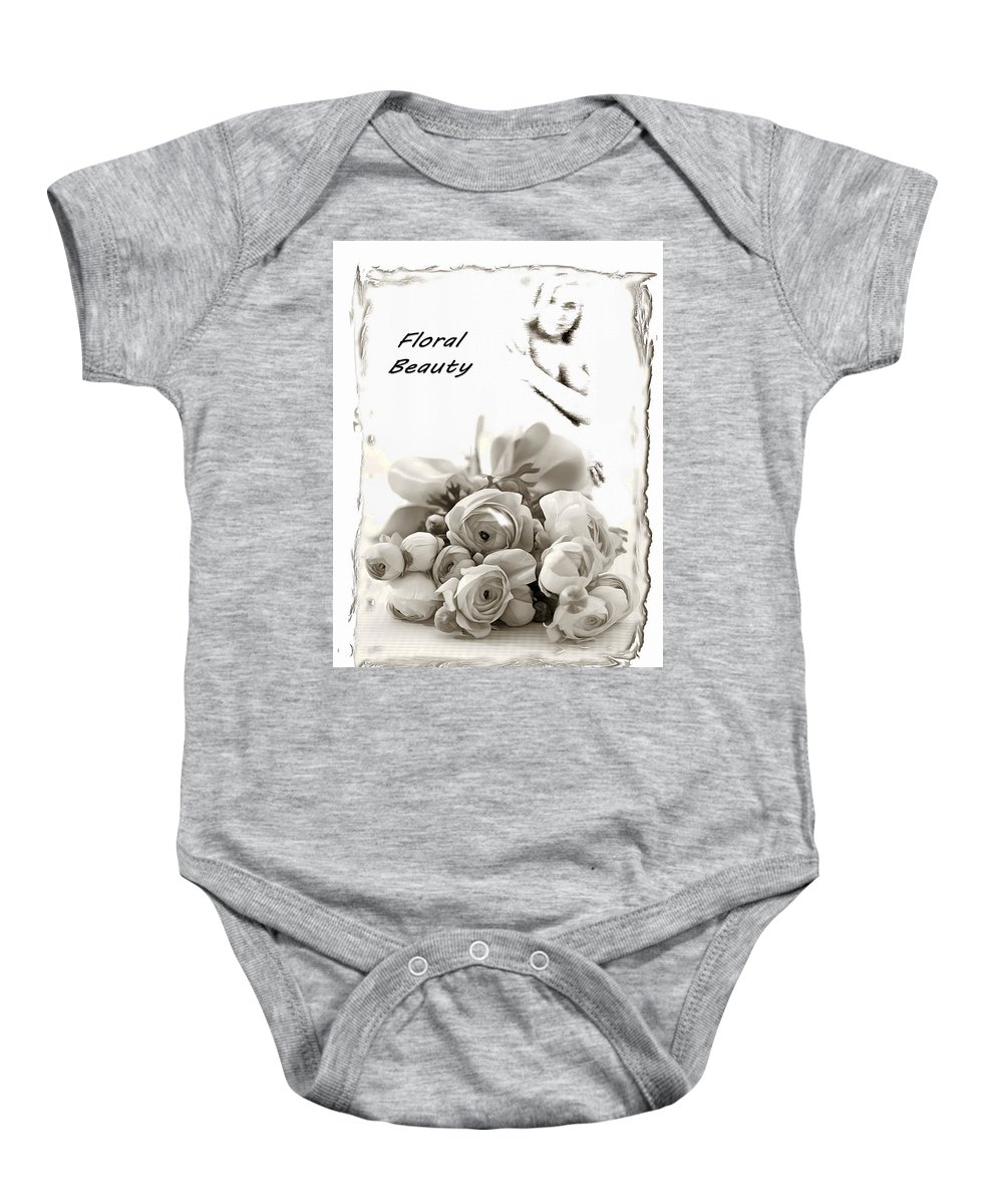 Digital Art Baby Onesie featuring the digital art Floral Beauty by Mario Carini
