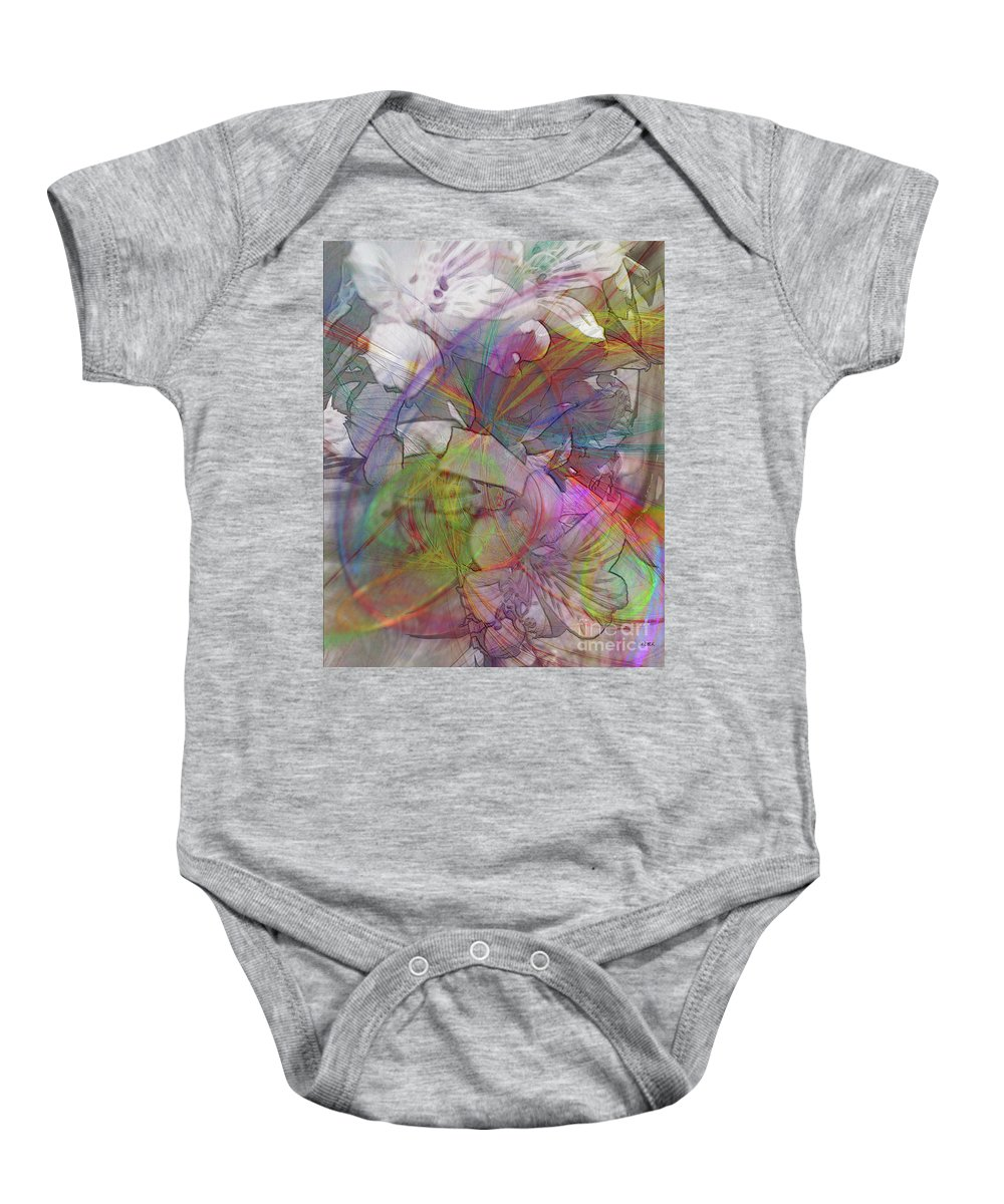Floral Fantasy Baby Onesie featuring the digital art Floral Fantasy by John Beck