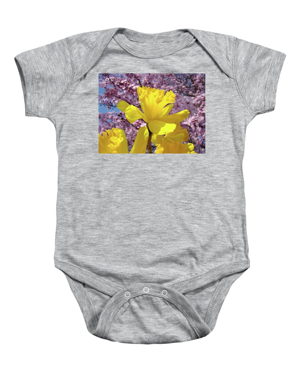 Nature Baby Onesie featuring the photograph Floral Fine Art Daffodils Art Prints Spring Flowers Sunlit Baslee Troutman by Baslee Troutman