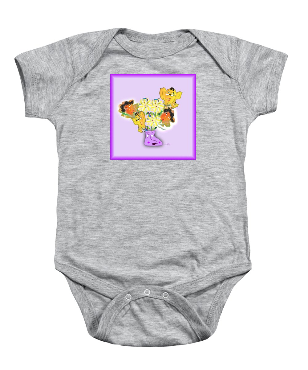Floral Baby Onesie featuring the digital art Floral Happiness by Iris Gelbart