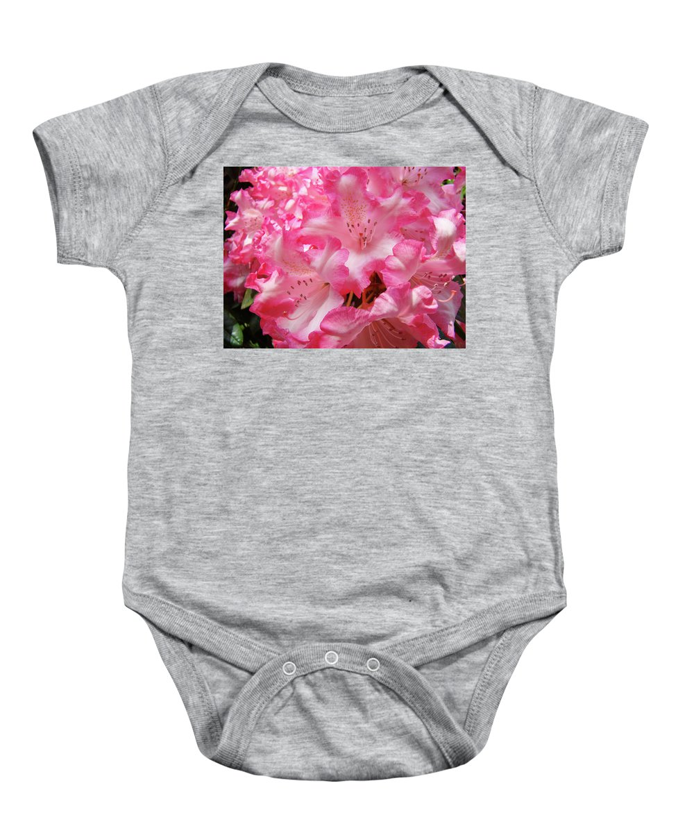 Rhodies Baby Onesie featuring the photograph Floral Rhodies Flowers Pink White Art Baslee Troutman by Baslee Troutman