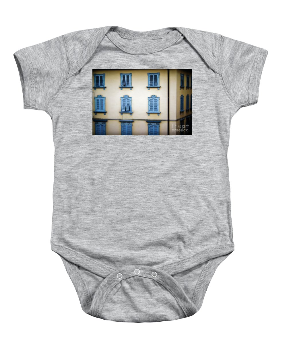 Florence Baby Onesie featuring the photograph Florentine Shutters by Doug Sturgess