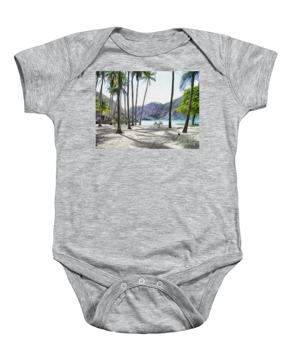 Landscape Baby Onesie featuring the painting Florida Beach by Murphy Elliott