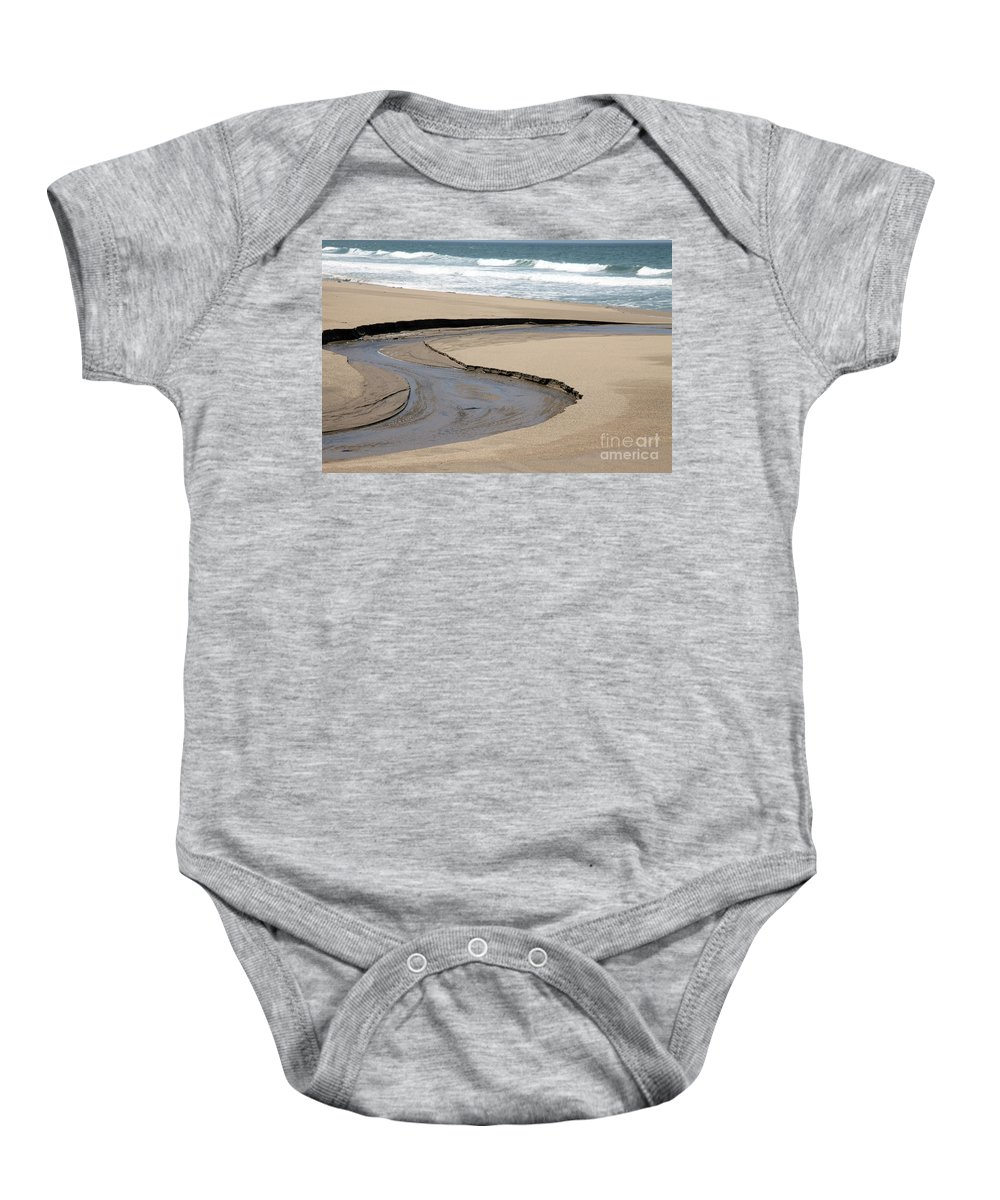 black And White Baby Onesie featuring the photograph Flow - Scott Creek by Amanda Barcon