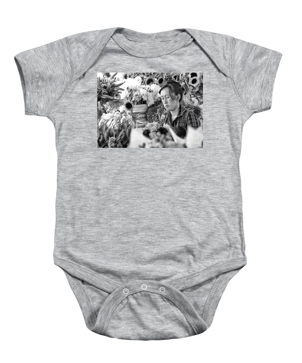 Market Baby Onesie featuring the photograph Flower Market by Paul Fell
