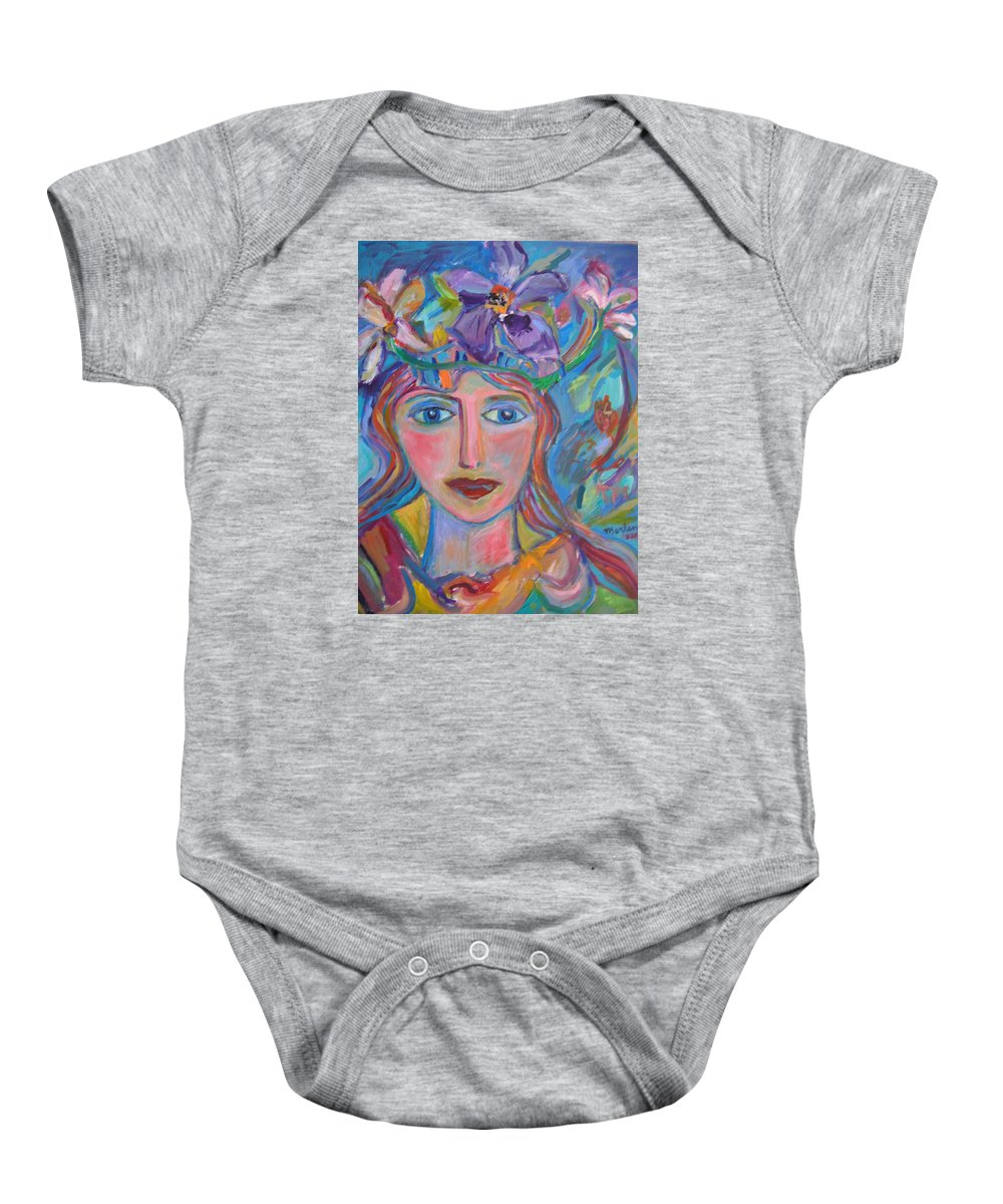 Face Baby Onesie featuring the painting Flower Princess by Marlene Robbins