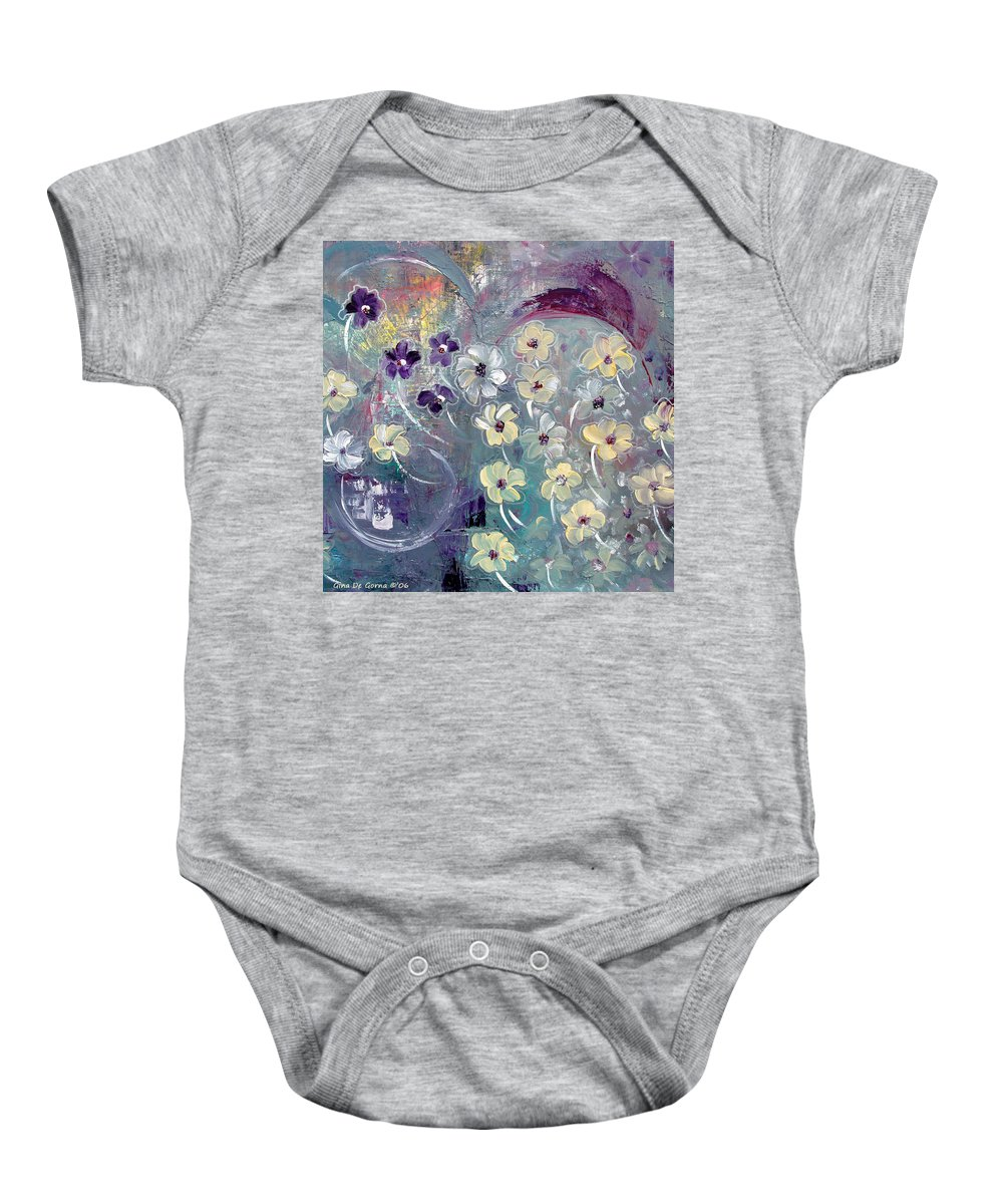 Flowers Baby Onesie featuring the painting Flowers And Dreams 5 by Gina De Gorna