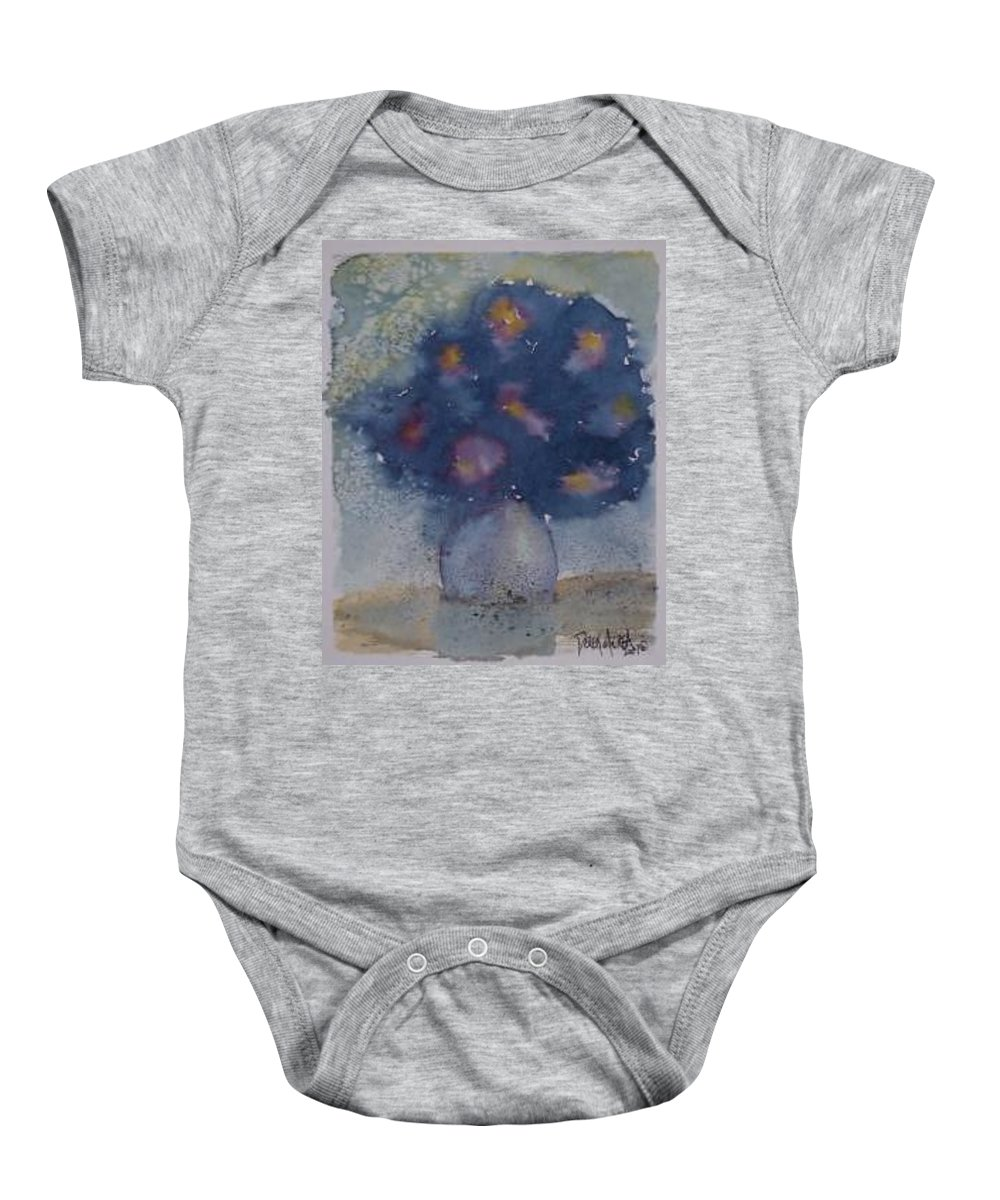 Watercolor Baby Onesie featuring the painting FLOWERS AT NIGHT original abstract gothic surreal art by Derek Mccrea