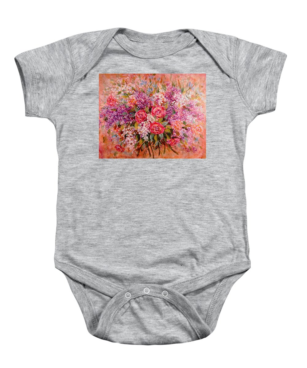 Romantic Flowers Baby Onesie featuring the painting Flowers Of Romance by Natalie Holland