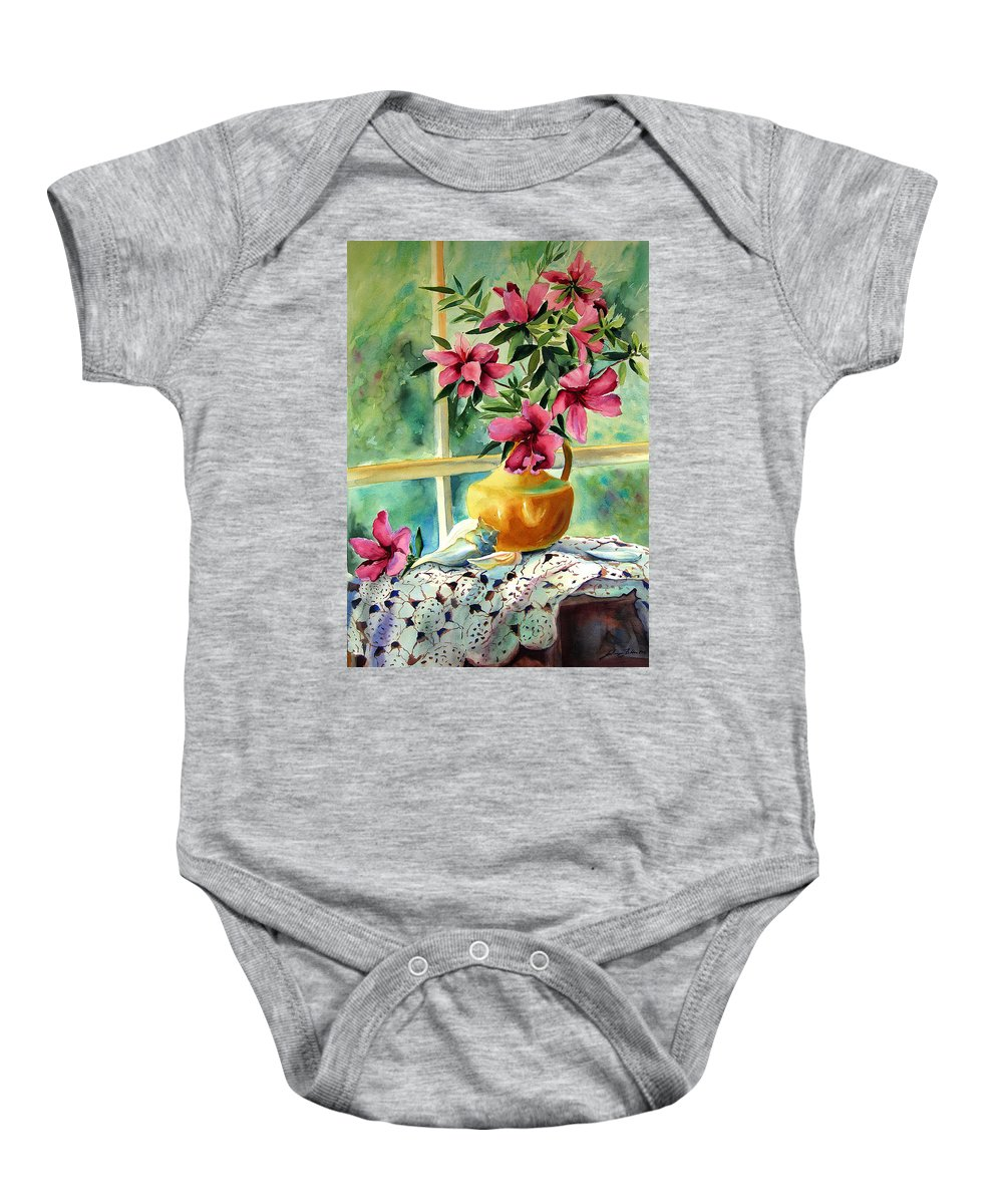 Original Watercolors Baby Onesie featuring the painting Flowers Shells And Lace by Julianne Felton