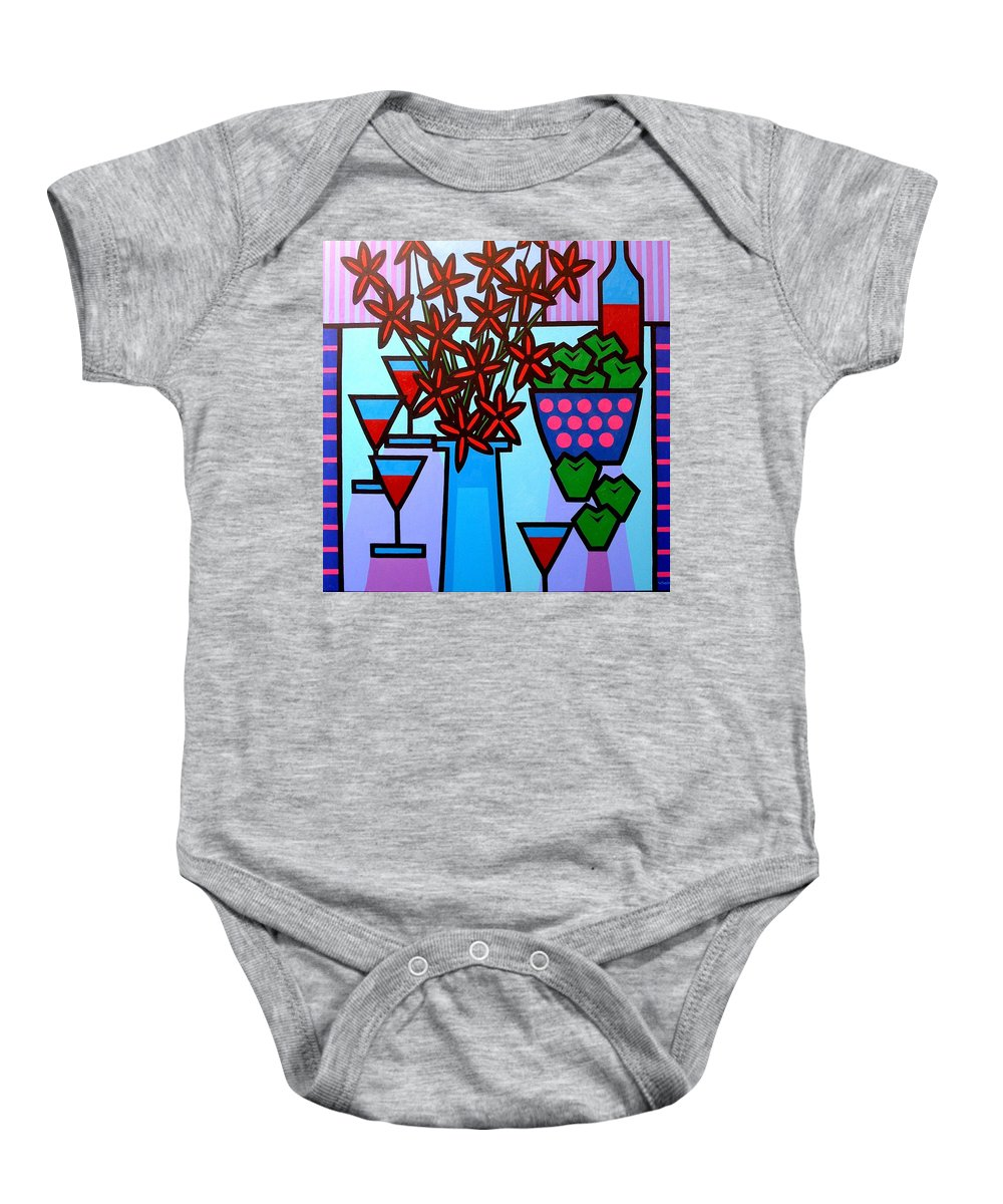 Flowers Baby Onesie featuring the painting Flowers Wine Apples by John Nolan