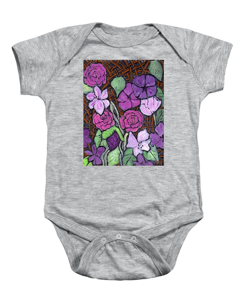 Flowers Baby Onesie featuring the painting Flowers With Basket Weave by Wayne Potrafka