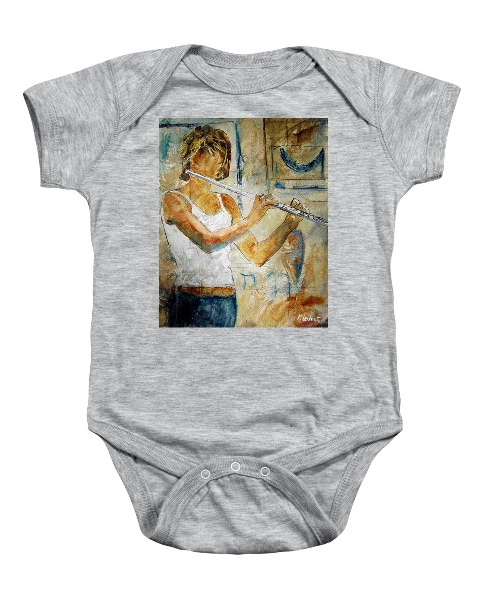 Music Baby Onesie featuring the painting Flutist by Pol Ledent