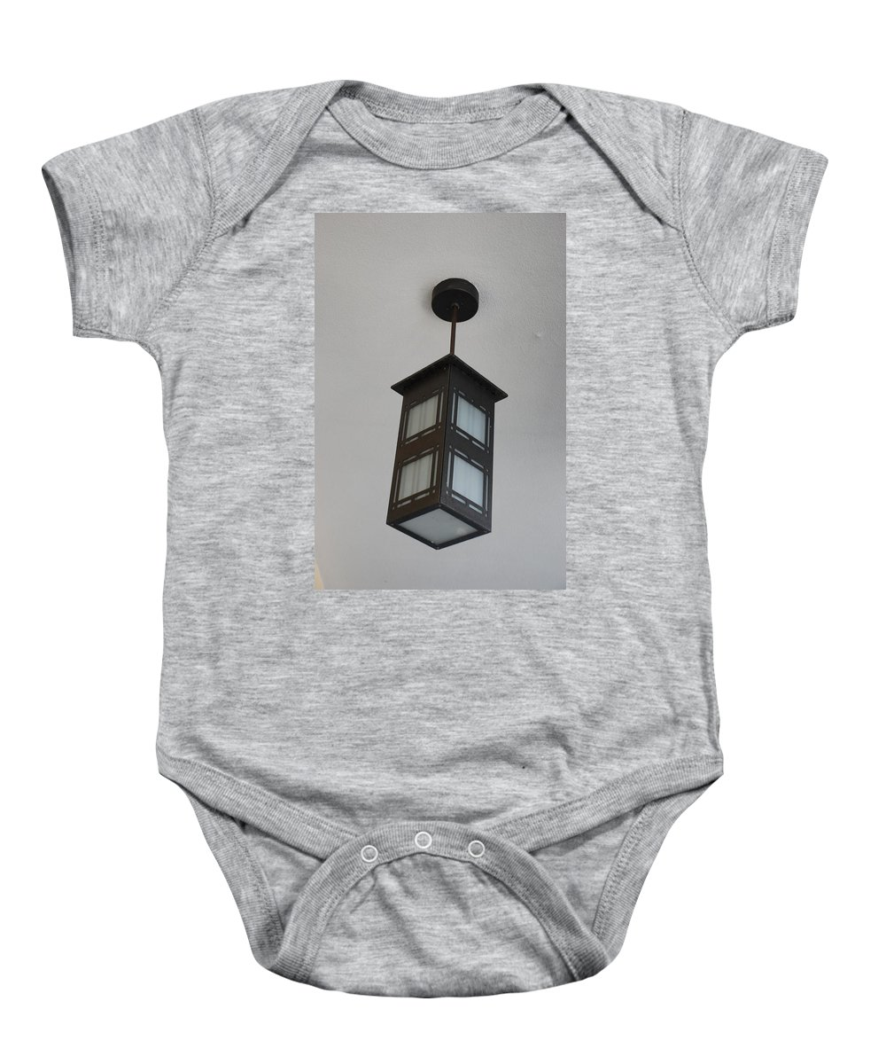 Black And White Baby Onesie featuring the photograph Flw Lamp by Rob Hans