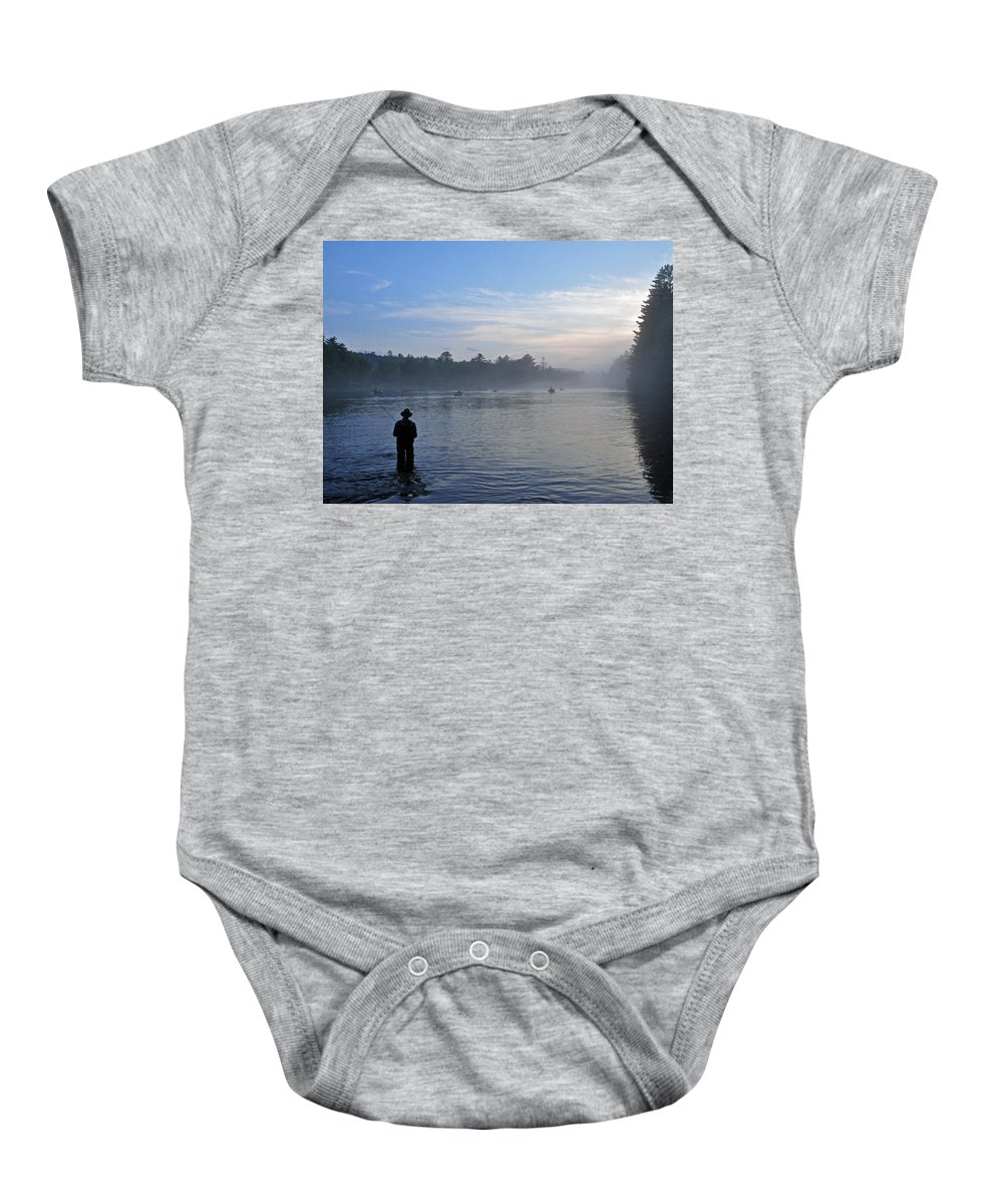 Flyfisherman Baby Onesie featuring the photograph Flyfishing In Maine by Glenn Gordon