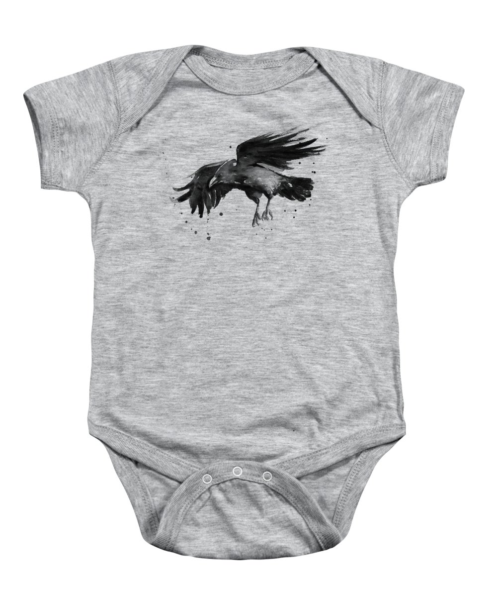 Raven Baby Onesie featuring the painting Flying Raven Watercolor by Olga Shvartsur