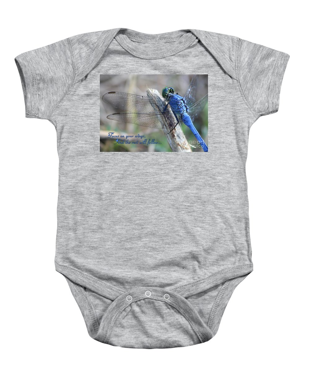 Wings Baby Onesie featuring the photograph Focus On Your Wings by Carol Groenen