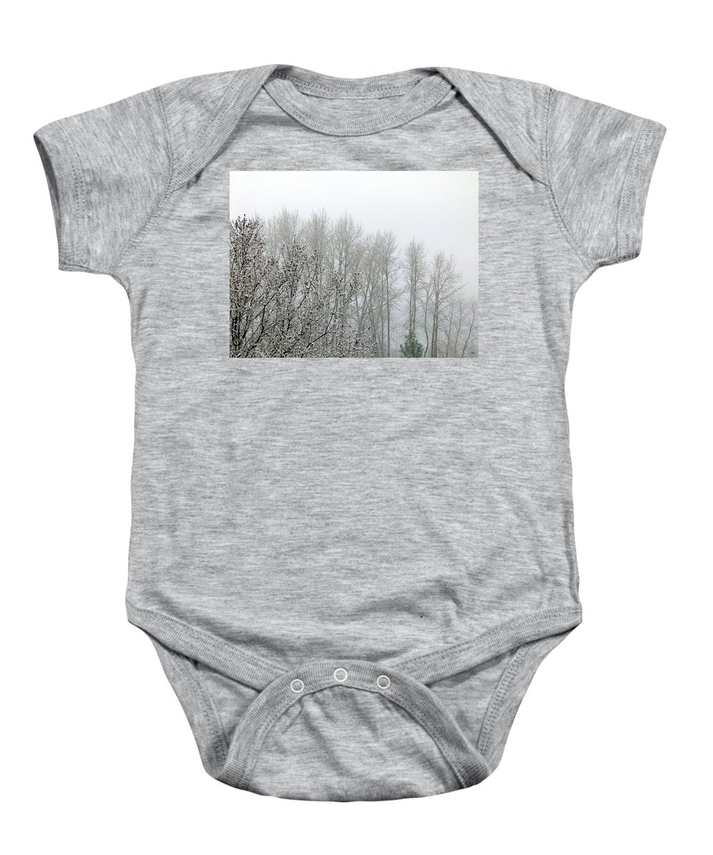 Fog Baby Onesie featuring the photograph Fog And Light Snow by Will Borden