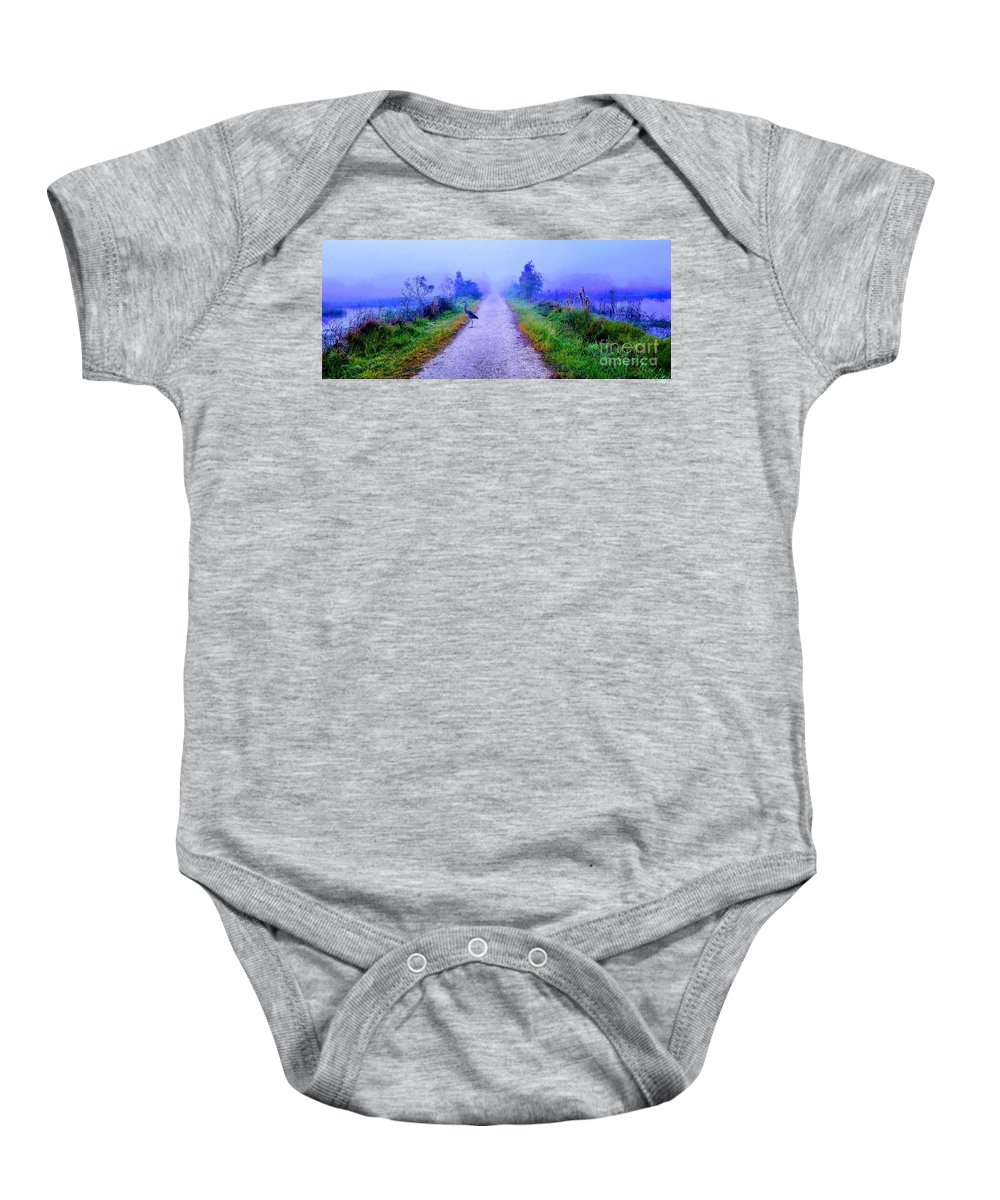 Wildlife Sanctuary Baby Onesie featuring the photograph Fog Lights by Dave Pellegrini