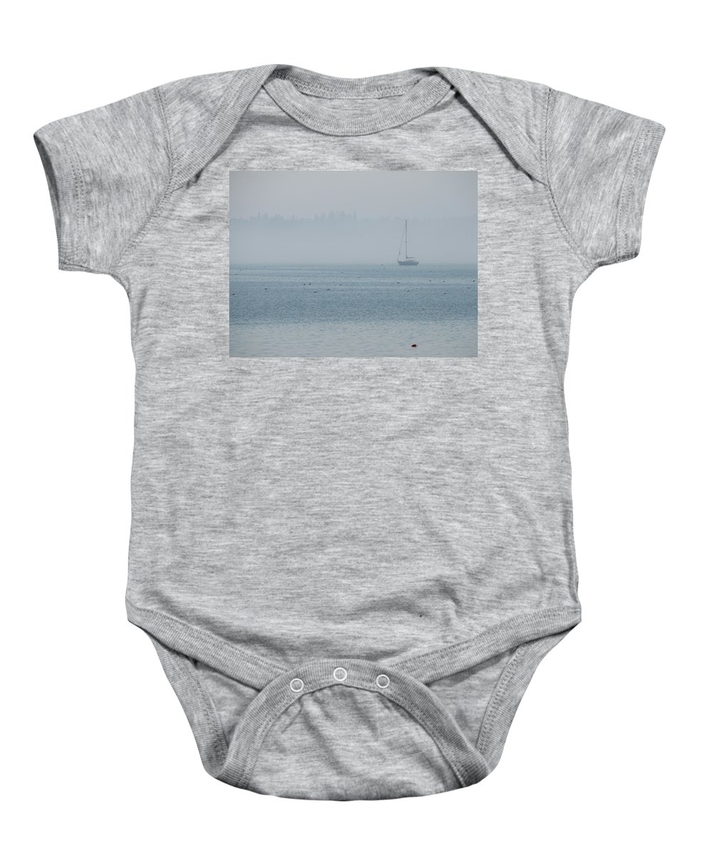 Fog Baby Onesie featuring the photograph Fog On Davis Cove by Kelly Mezzapelle