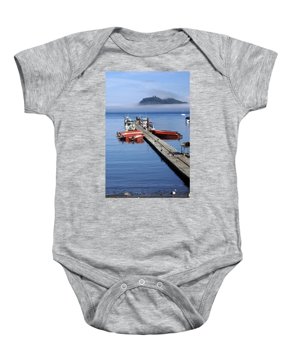Olympic Baby Onesie featuring the photograph Foggy Dock by Marty Koch