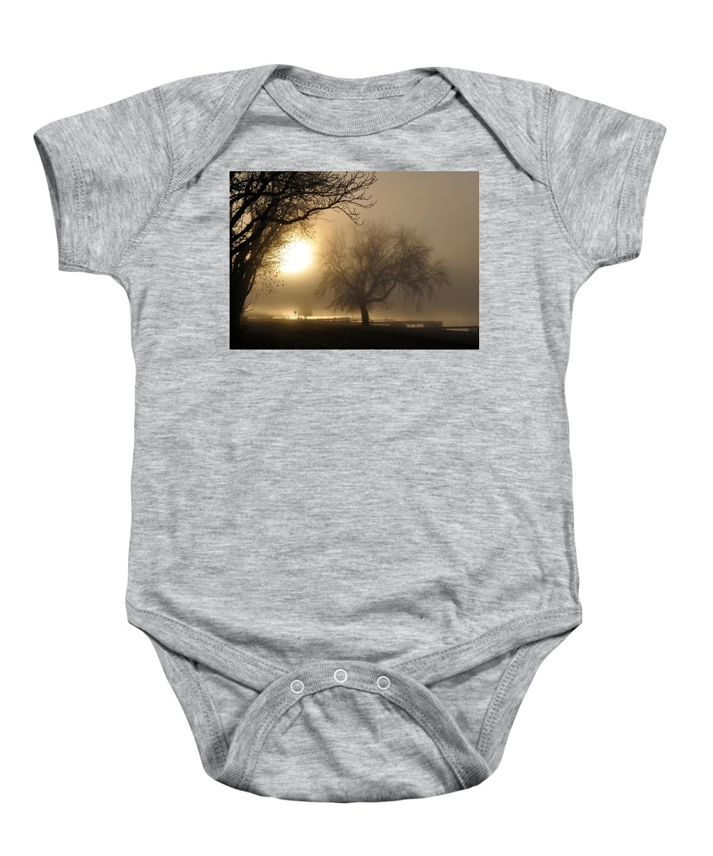 Foggy Baby Onesie featuring the photograph Foggy November Sunrise On The Bay by Tim Nyberg