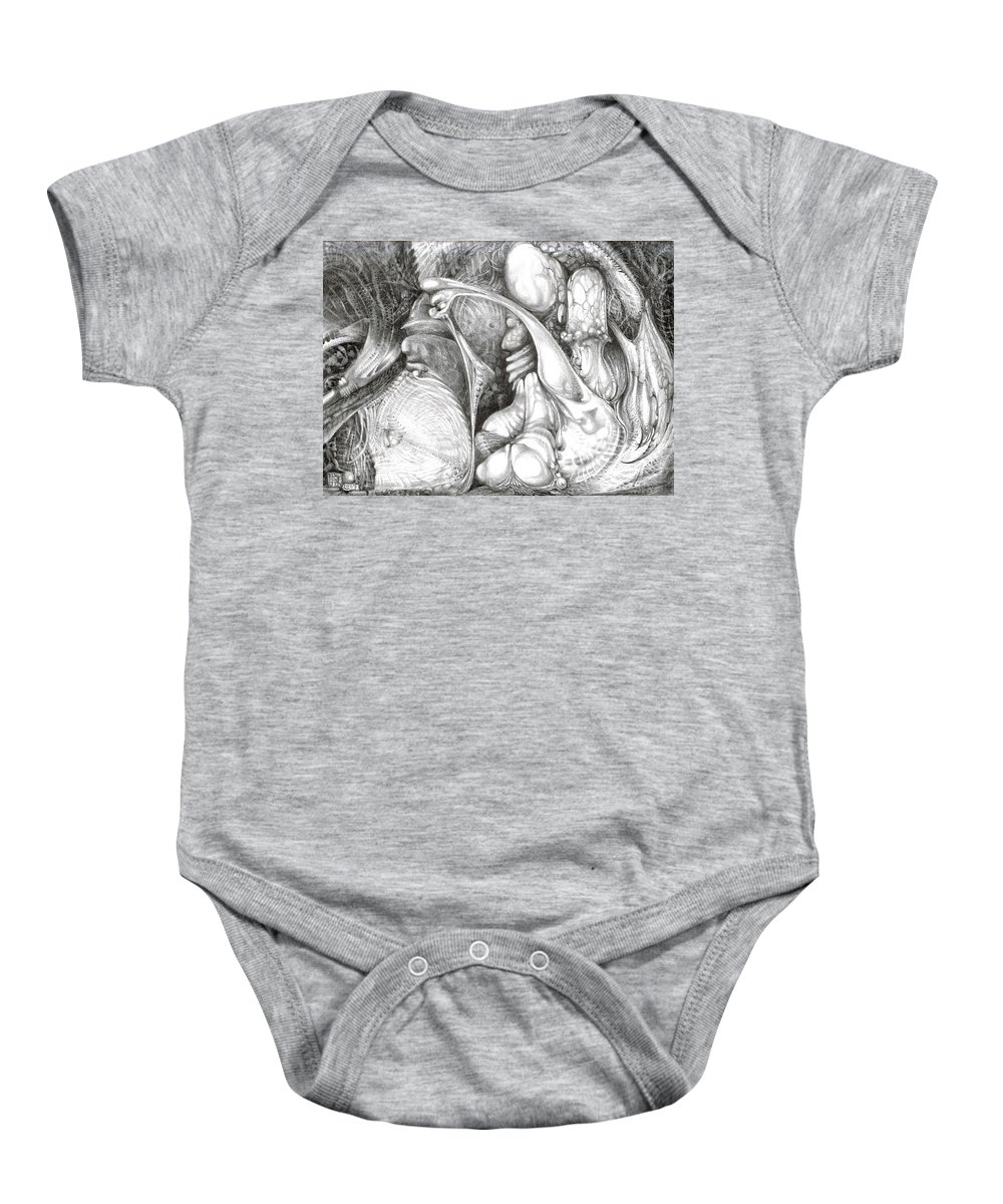 Fomorii Baby Onesie featuring the drawing Fomorii Interior by Otto Rapp