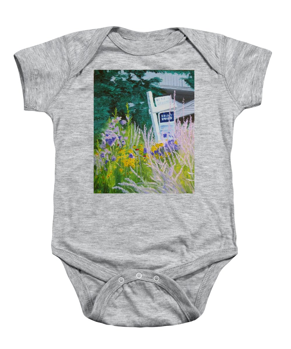 Landscape Baby Onesie featuring the painting For Sale - A Patch Of Paradise by Lea Novak
