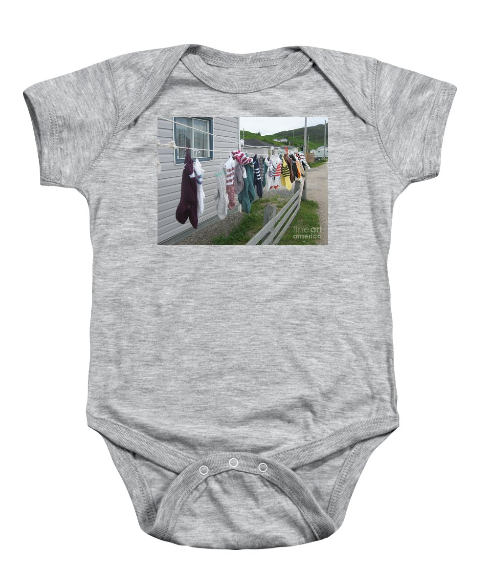 Knitted Socks Newfoundland Baby Onesie featuring the photograph For Sale by Seon-Jeong Kim
