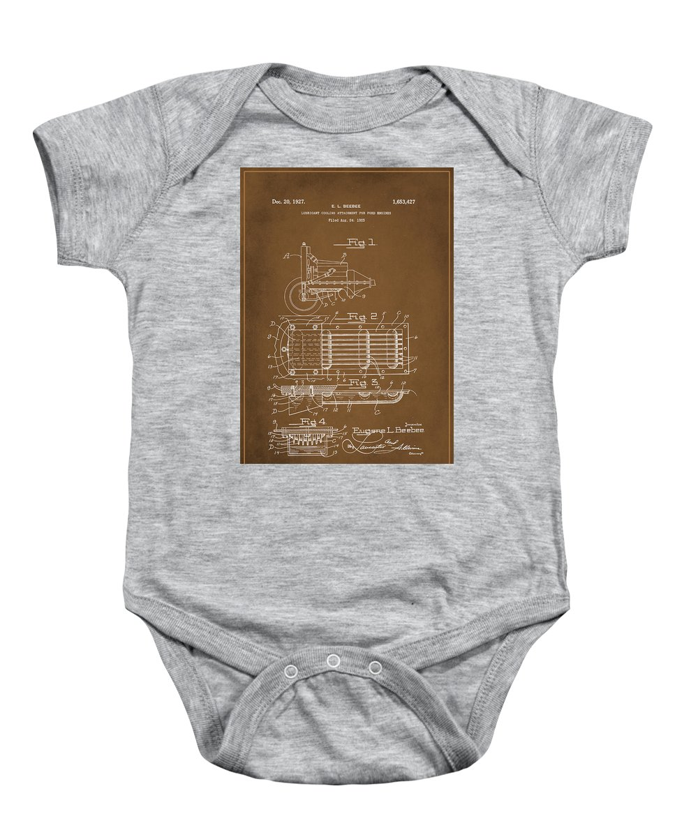 Patent Baby Onesie featuring the mixed media Ford Engine Lubricant Cooling Attachment Patent Drawing 1a by Brian Reaves