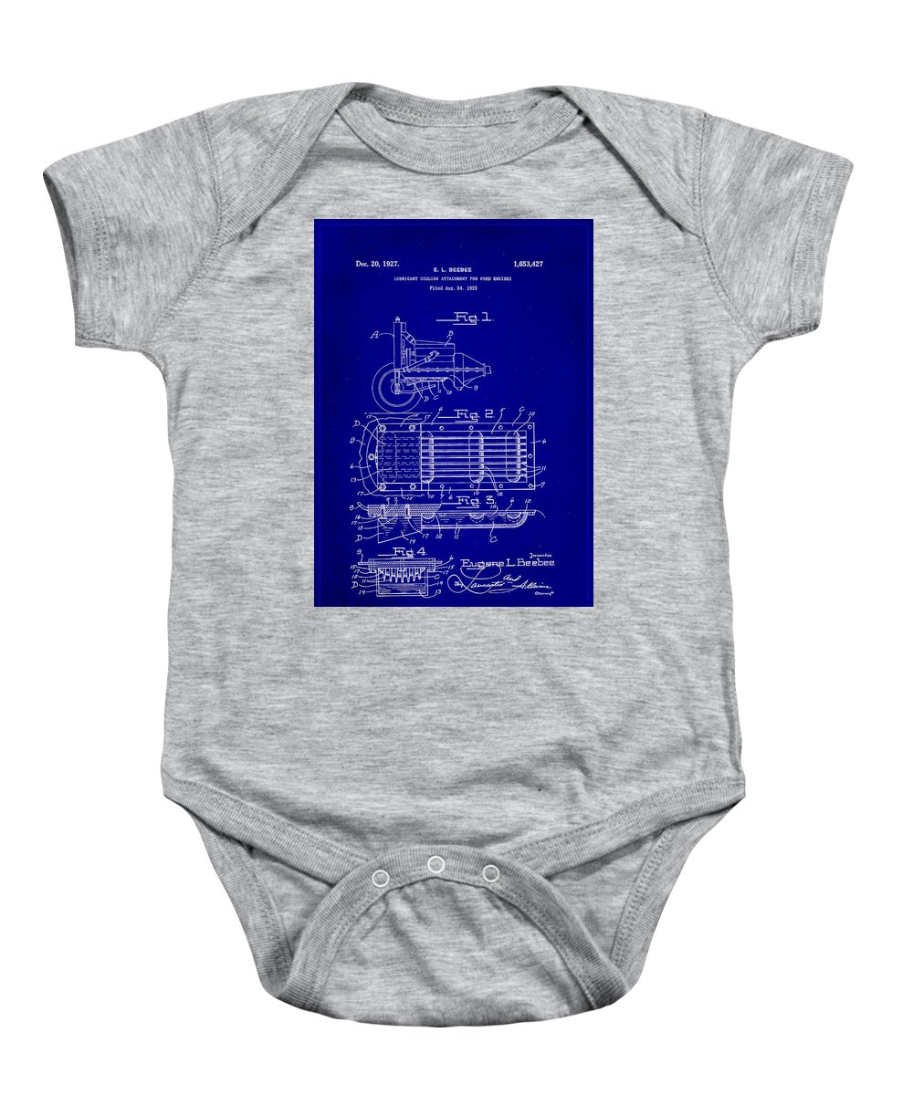 Patent Baby Onesie featuring the mixed media Ford Engine Lubricant Cooling Attachment Patent Drawing 1c by Brian Reaves