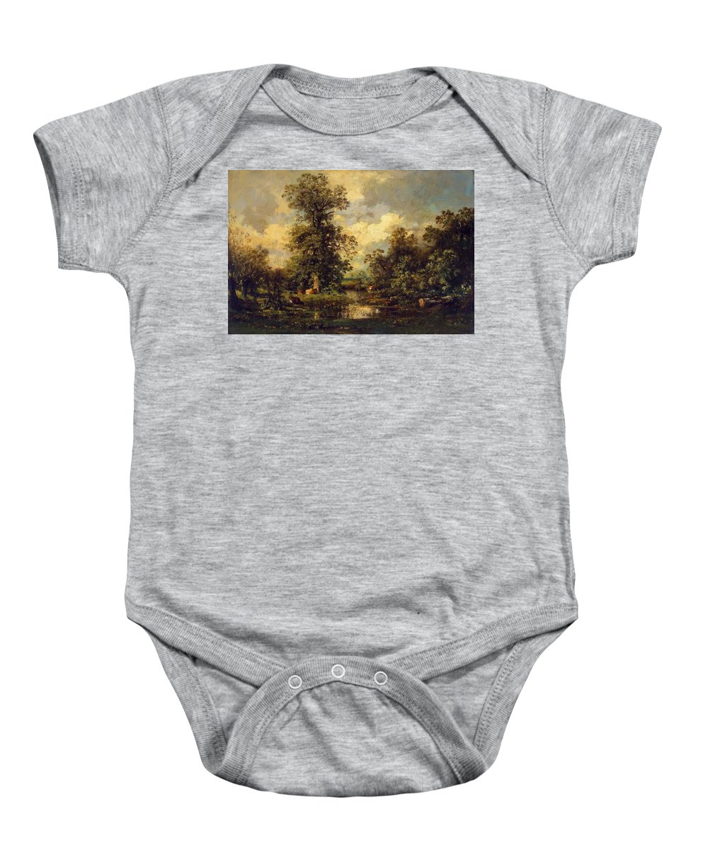 Forest Baby Onesie featuring the painting Forest Landscape 1840 by Dupre Jules