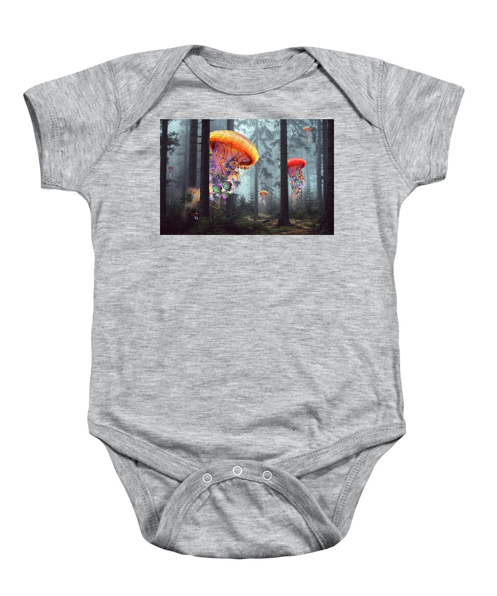 Forest Baby Onesie featuring the digital art Forest Of Jellyfish Worlds by David Loblaw