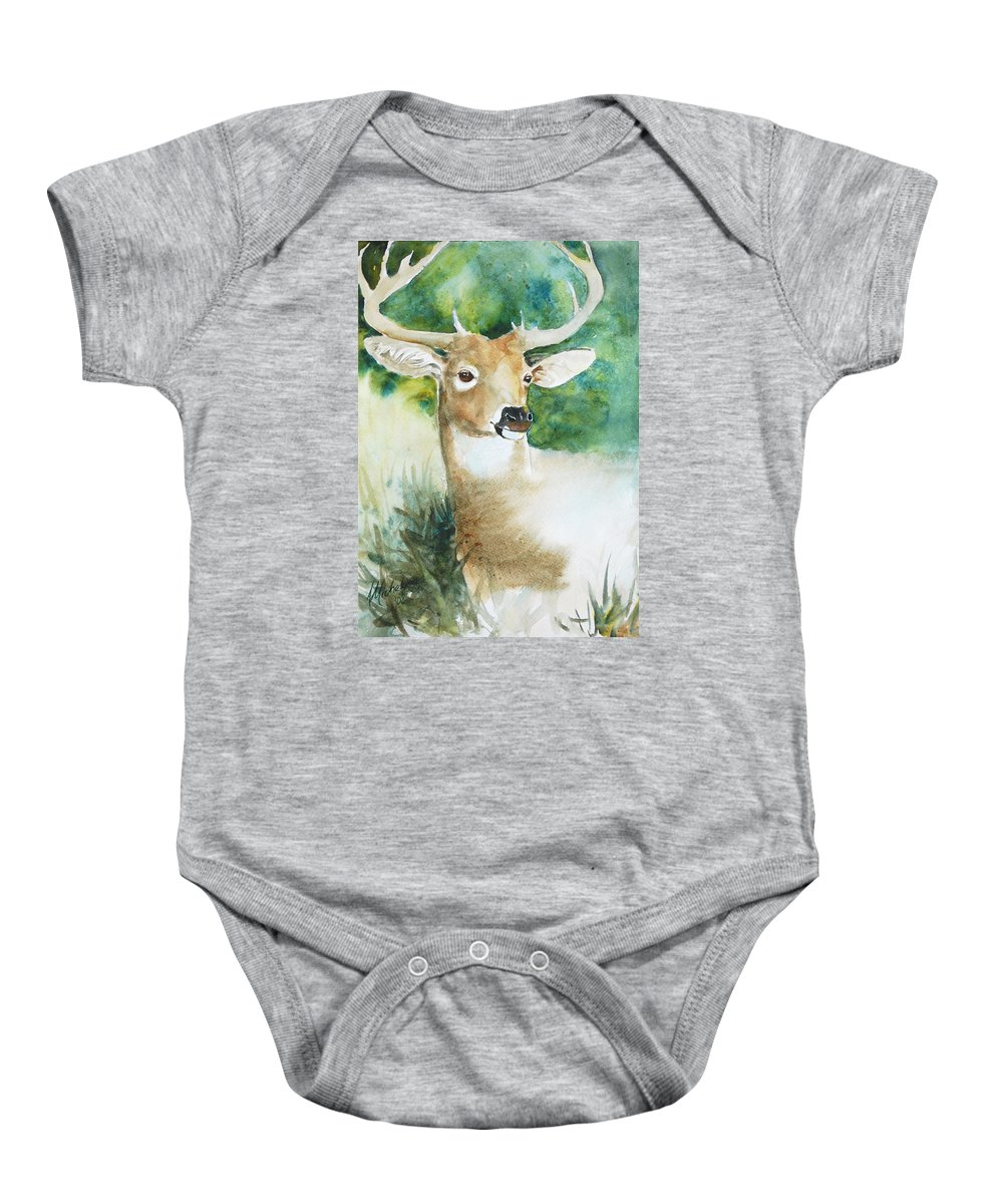 Deer Baby Onesie featuring the painting Forest Spirit by Christie Michelsen