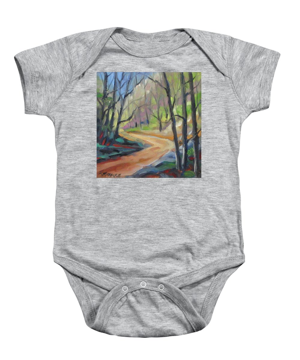 Art Baby Onesie featuring the painting Forest Way by Richard T Pranke
