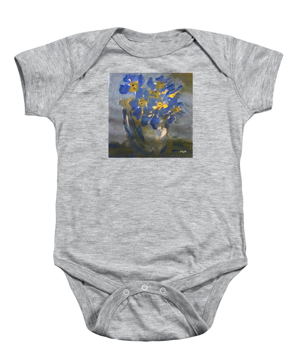 Flowers Baby Onesie featuring the painting Forget Me Nots by Mary Jo Hopton